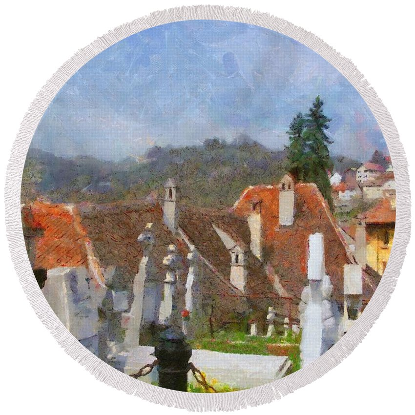 Architecture Round Beach Towel featuring the painting Quiet Neighbors by Jeffrey Kolker
