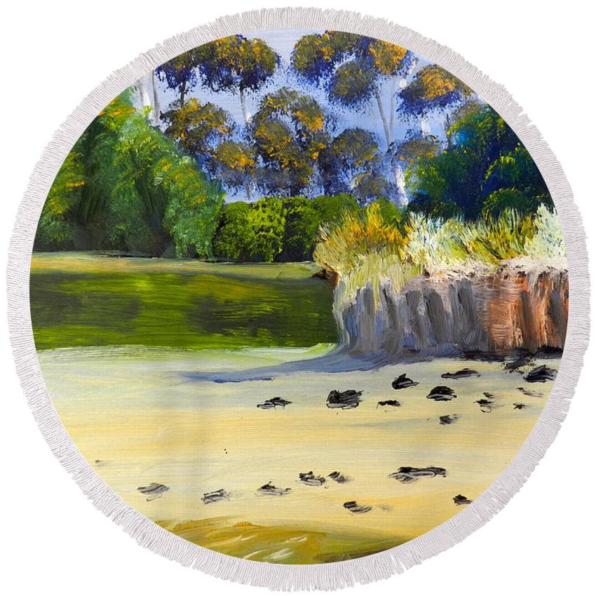 Impressionist Round Beach Towel featuring the painting Quiet Sand By The Creek by Pamela Meredith