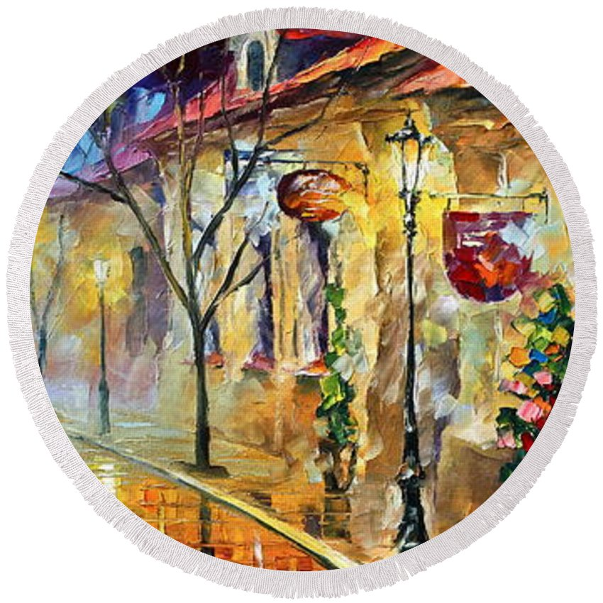 Afremov Round Beach Towel featuring the painting Quite Morning by Leonid Afremov