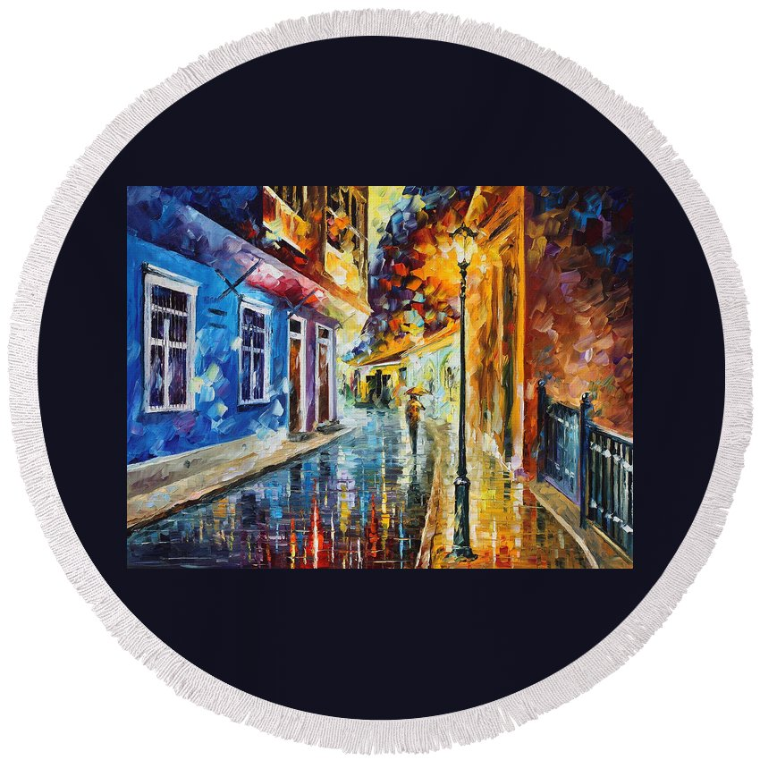 Oil Paintings Round Beach Towel featuring the painting Quito Ecuador - Palette Knife Oil Painting On Canvas By Leonid Afremov by Leonid Afremov