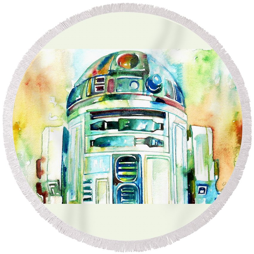 R2-d2 Round Beach Towel featuring the painting R2-d2 Watercolor Portrait by Fabrizio Cassetta