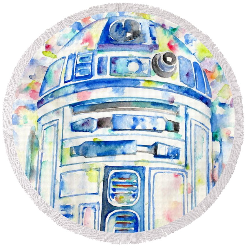 R2-d2 Round Beach Towel featuring the painting R2-d2 Watercolor Portrait.1 by Fabrizio Cassetta