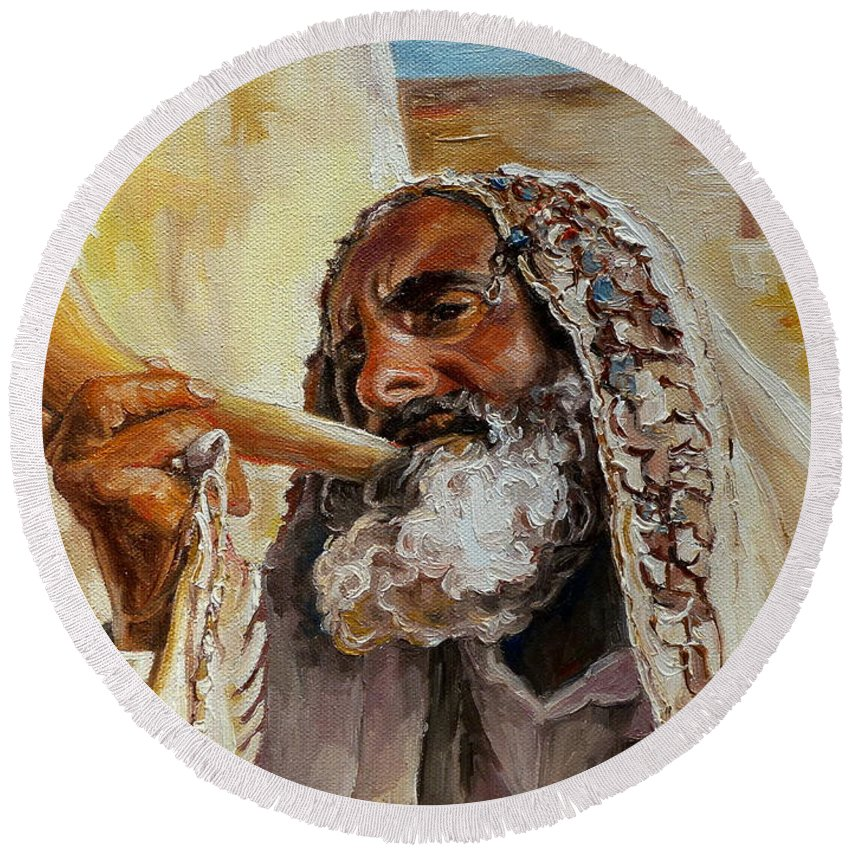 Rabbi Round Beach Towel featuring the painting Rabbi Blowing Shofar by Carole Spandau