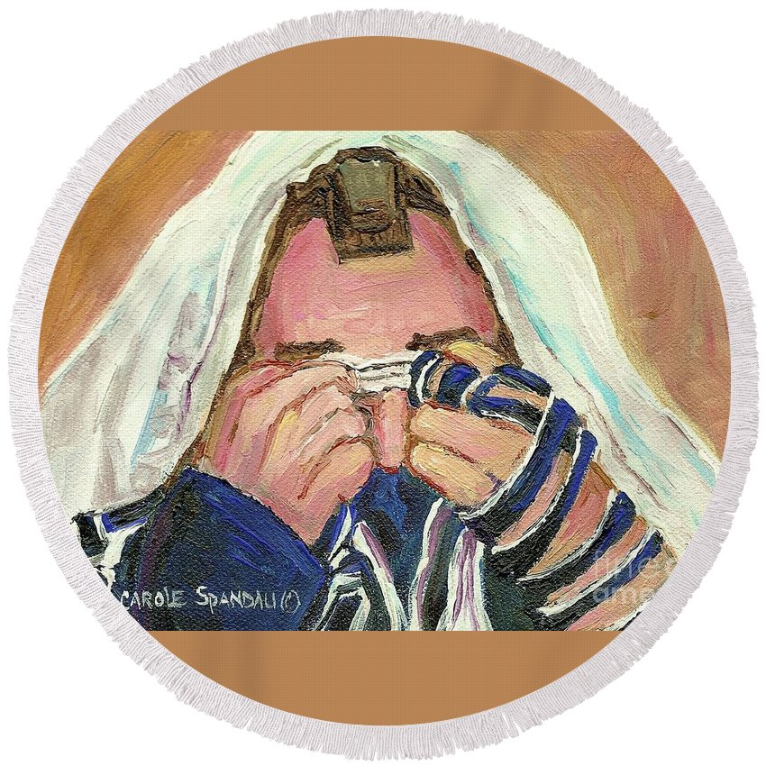 Rabbi Davening Round Beach Towel featuring the painting Rabbi's Prayer For The Sabbath by Carole Spandau