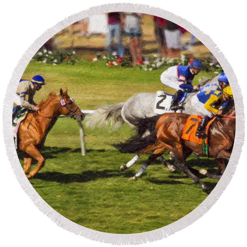 Del Mar Round Beach Towel featuring the painting Race 6 - Del Mar Horse Race by Angela Stanton
