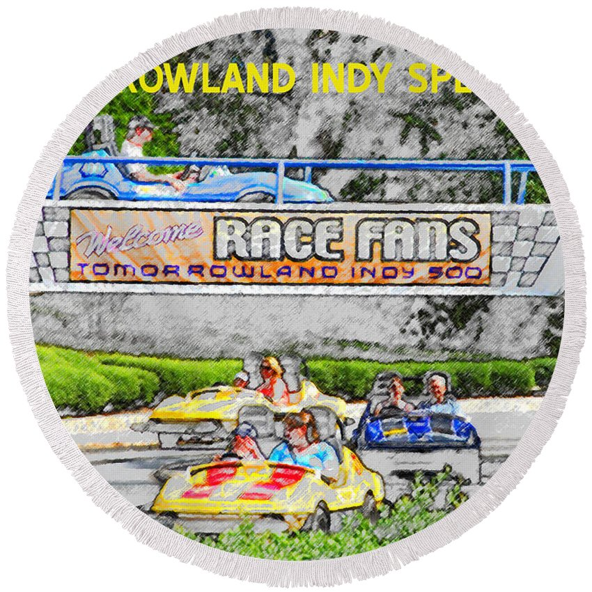 Art Round Beach Towel featuring the painting Racing Dreams by David Lee Thompson