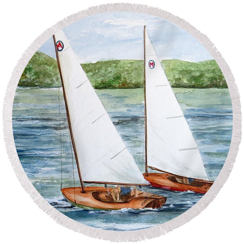 Classic Moth Sailboat Round Beach Towel featuring the painting Racing by Nancy Patterson