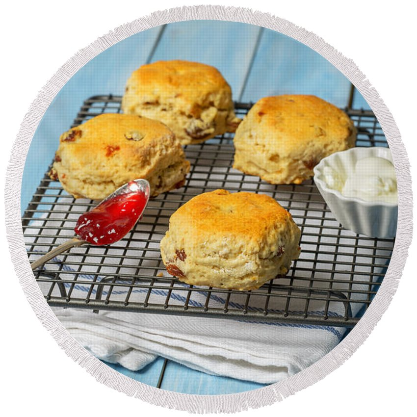 Scones Round Beach Towel featuring the photograph Rack Of Scones by Amanda Elwell