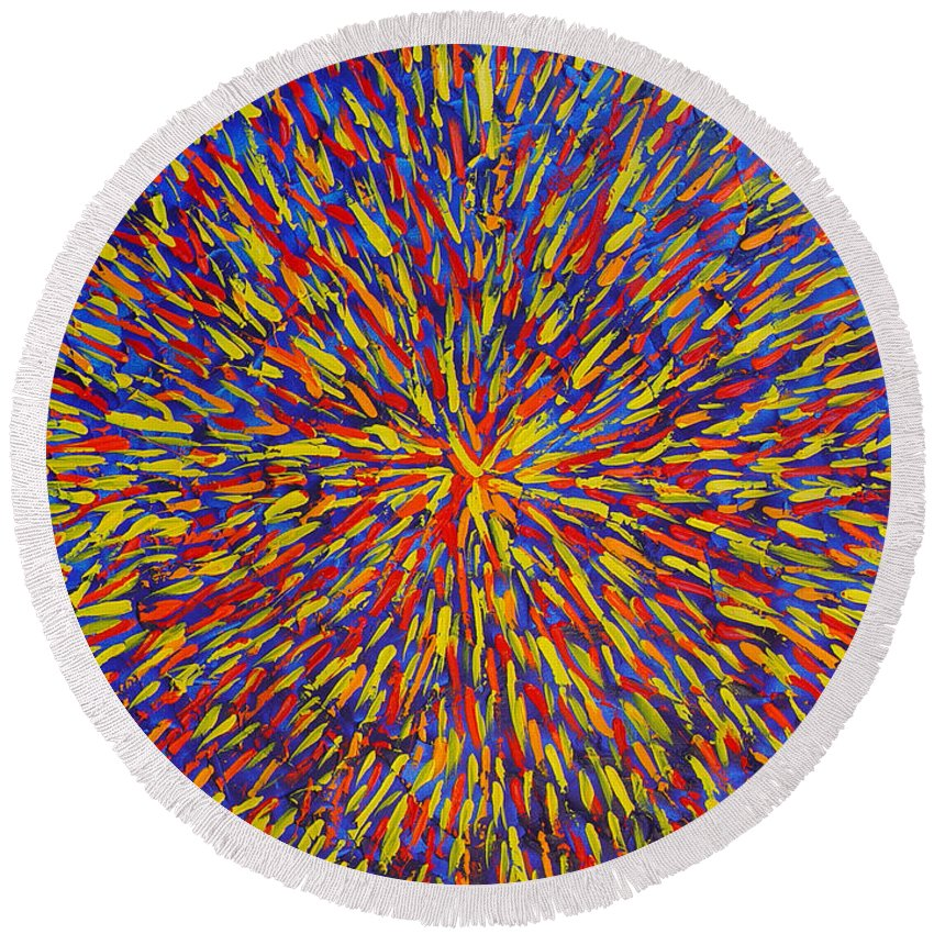 Abstract Round Beach Towel featuring the painting Radiation Blue by Dean Triolo