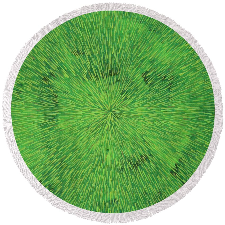 Abstract Round Beach Towel featuring the painting Radiation Green by Dean Triolo
