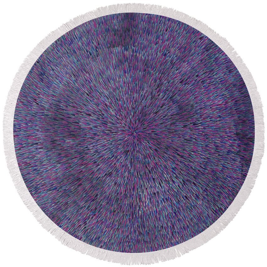 Abstract Round Beach Towel featuring the painting Radiation Violet by Dean Triolo