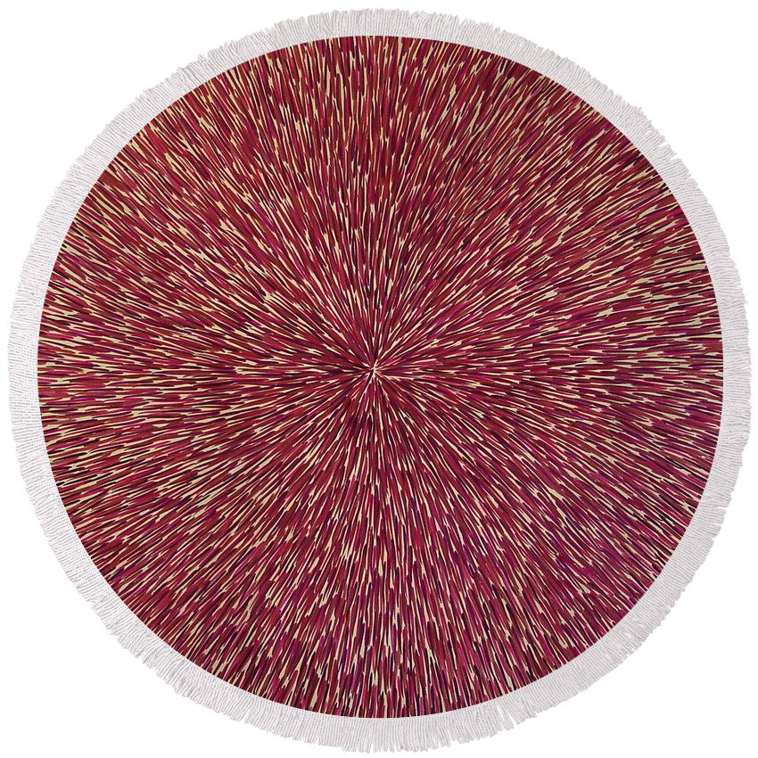 Abstract Round Beach Towel featuring the painting Radiation With Brown Magenta And Violet by Dean Triolo