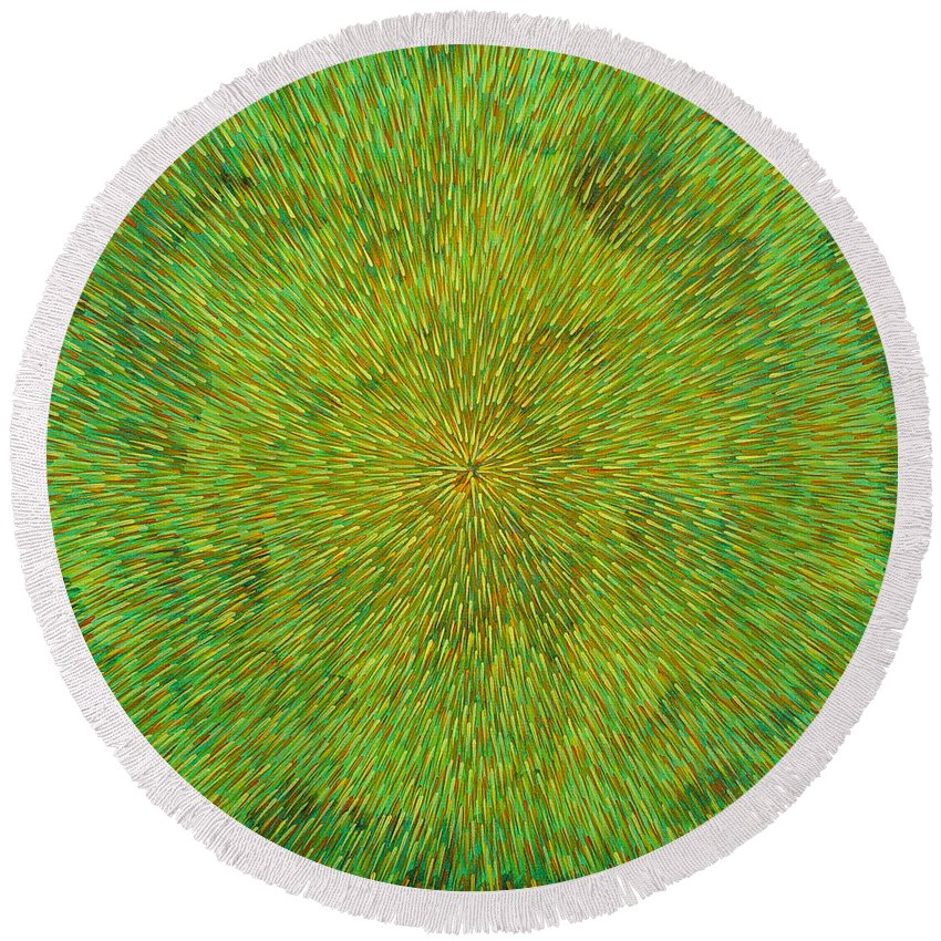 Abstract Round Beach Towel featuring the painting Radiation With Green Yellow And Orange by Dean Triolo