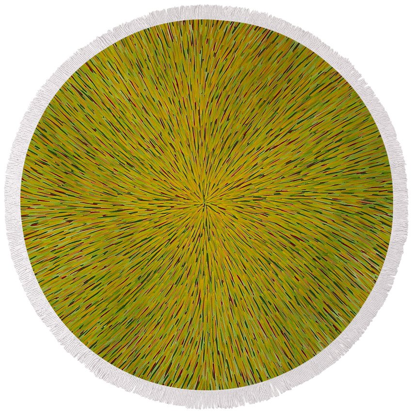 Abstract Round Beach Towel featuring the painting Radiation With Yellow Green And Red by Dean Triolo