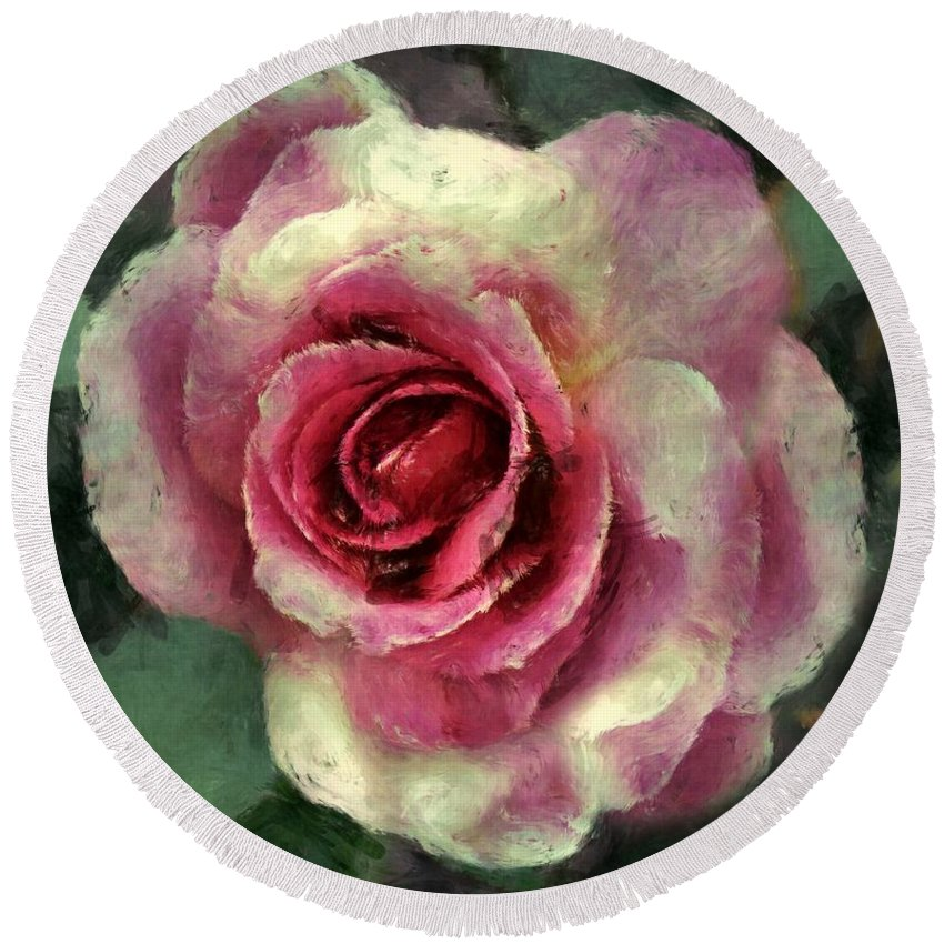 Rose Round Beach Towel featuring the painting Ragged Satin Rose by RC DeWinter
