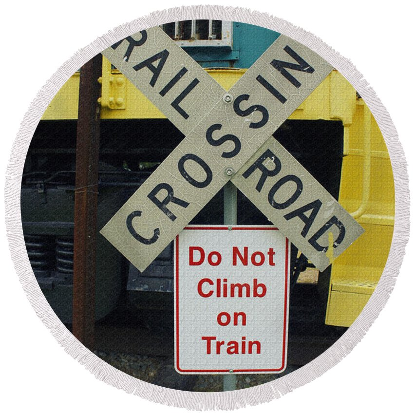 Railroad Crossing Round Beach Towel featuring the photograph Rail Road Crossing by Laurie Perry