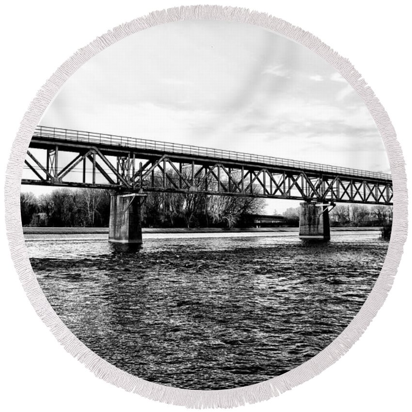 Railroad Round Beach Towel featuring the photograph Railroad Bridge Over The Schuylkill River In Norristown by Bill Cannon