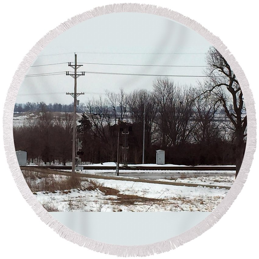 Railroad Crossing Round Beach Towel featuring the photograph Railroad Crossing by James Pinkerton