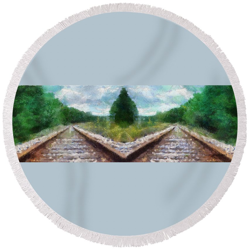 Transportation Round Beach Towel featuring the photograph Railroad Tracks Photo Art by Thomas Woolworth