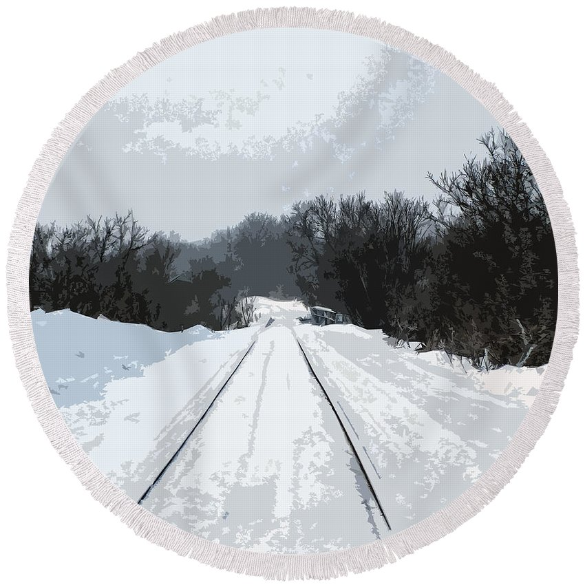 Railroad Round Beach Towel featuring the photograph Railroad Tracks by William Tasker
