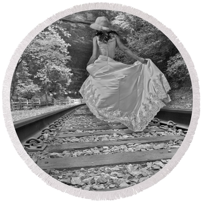 Railroad Round Beach Towel featuring the photograph Rails by Betsy Knapp