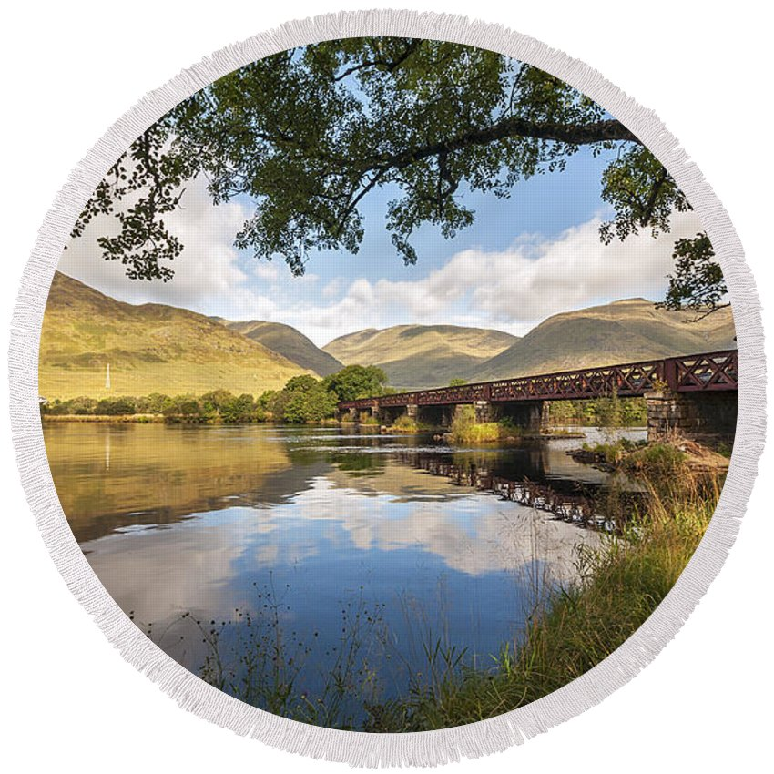 River Orchy Round Beach Towel featuring the photograph Railway Viaduct Over River Orchy by Bel Menpes