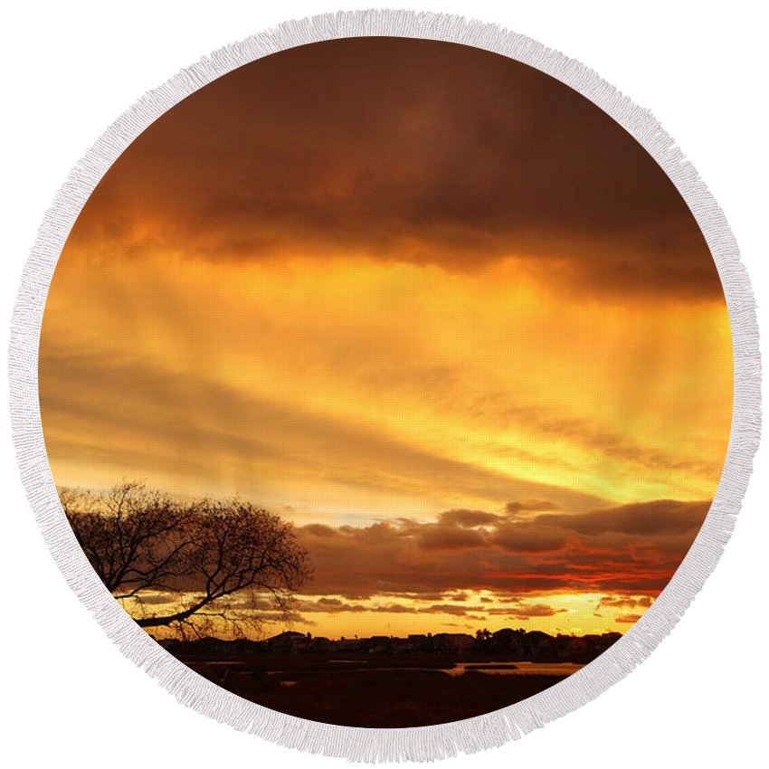 Galveston Round Beach Towel featuring the photograph Storm At Dusk 2am-108330 by Andrew McInnes