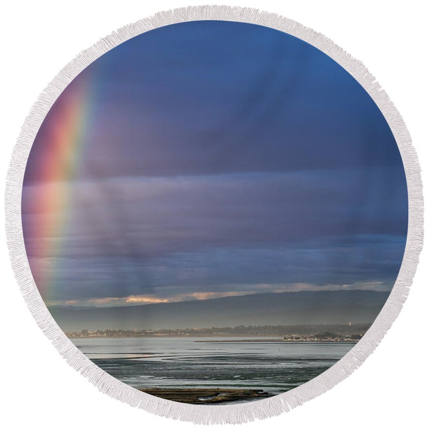 Humboldt Bay Round Beach Towel featuring the photograph Rainbow Above The Bay by Greg Nyquist