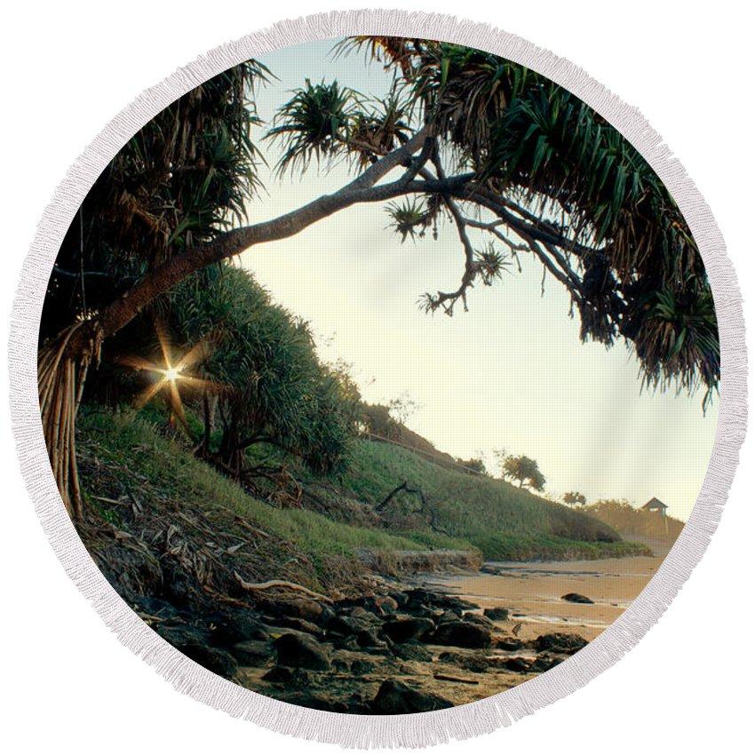 Beach Round Beach Towel featuring the photograph Rainbow Beach by Linda Lees