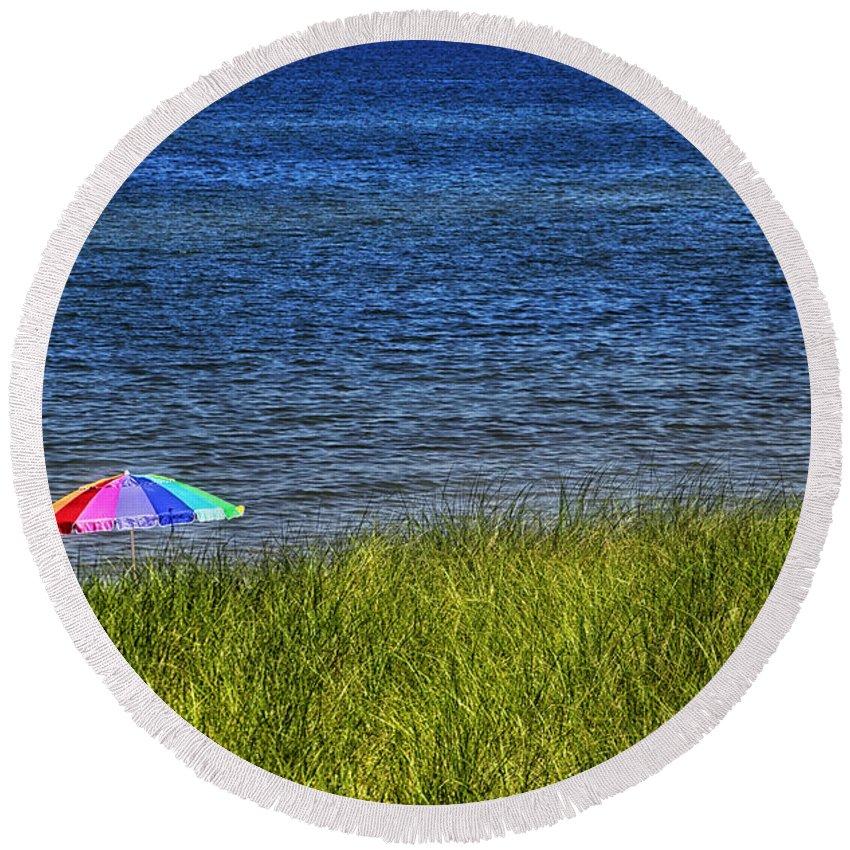 Rainbow Round Beach Towel featuring the photograph Rainbow Beach Umbrella by Thomas Woolworth