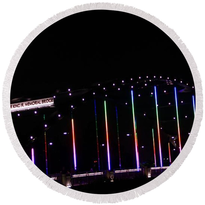 Rainbow Bridge And Super Moon Round Beach Towel featuring the photograph Rainbow Bridge And Super Moon by Dan Sproul