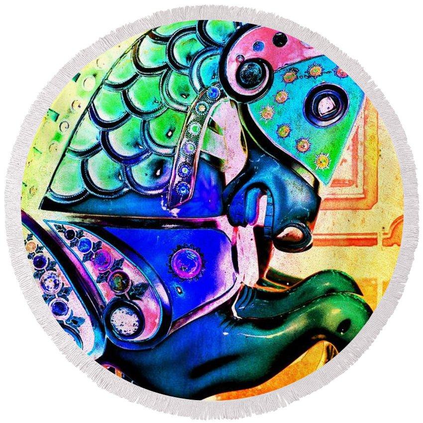 Carousel Round Beach Towel featuring the digital art Rainbow Carousel Horse by Patty Vicknair