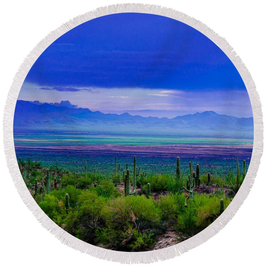 Rainbow Round Beach Towel featuring the photograph Rainbow Desert Landscape by Michael Moriarty