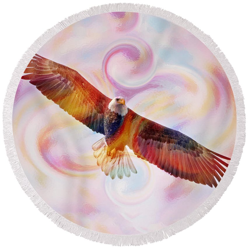 Bald Eagle Round Beach Towel featuring the painting Rainbow Flying Eagle Watercolor Painting by Georgeta Blanaru