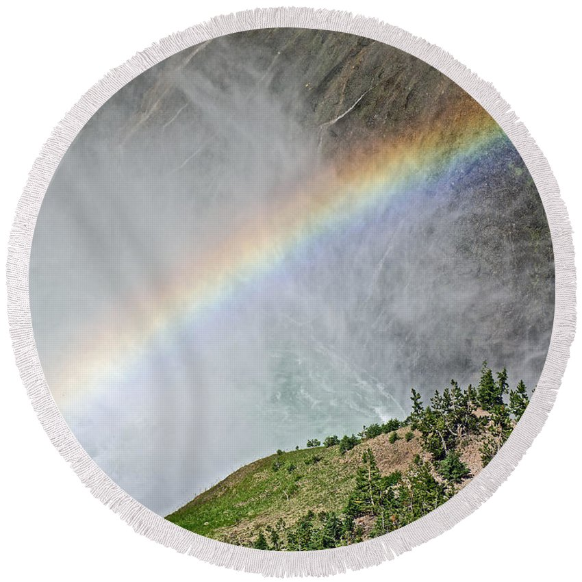 Rainbow From Spray Of Lower Yellowstone Falls Against Yellowstone Canyon Wall In Yellowstone National Park Round Beach Towel featuring the photograph Rainbow From Spray Of Lower Yellowstone Falls Against Yellowstone Canyon Wall-wyoming by Ruth Hager