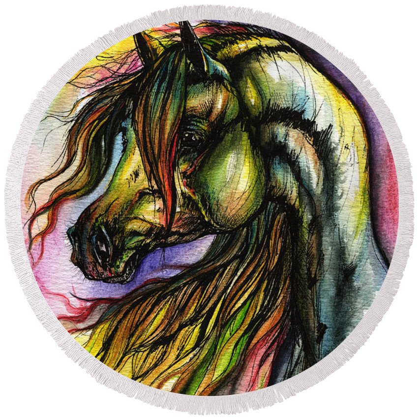 Horse Round Beach Towel featuring the painting Rainbow Horse 2 by Angel Ciesniarska