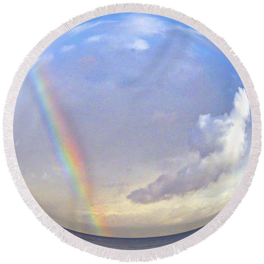 Rainbow Round Beach Towel featuring the photograph Rainbow In A Bubble by Jerome Stumphauzer