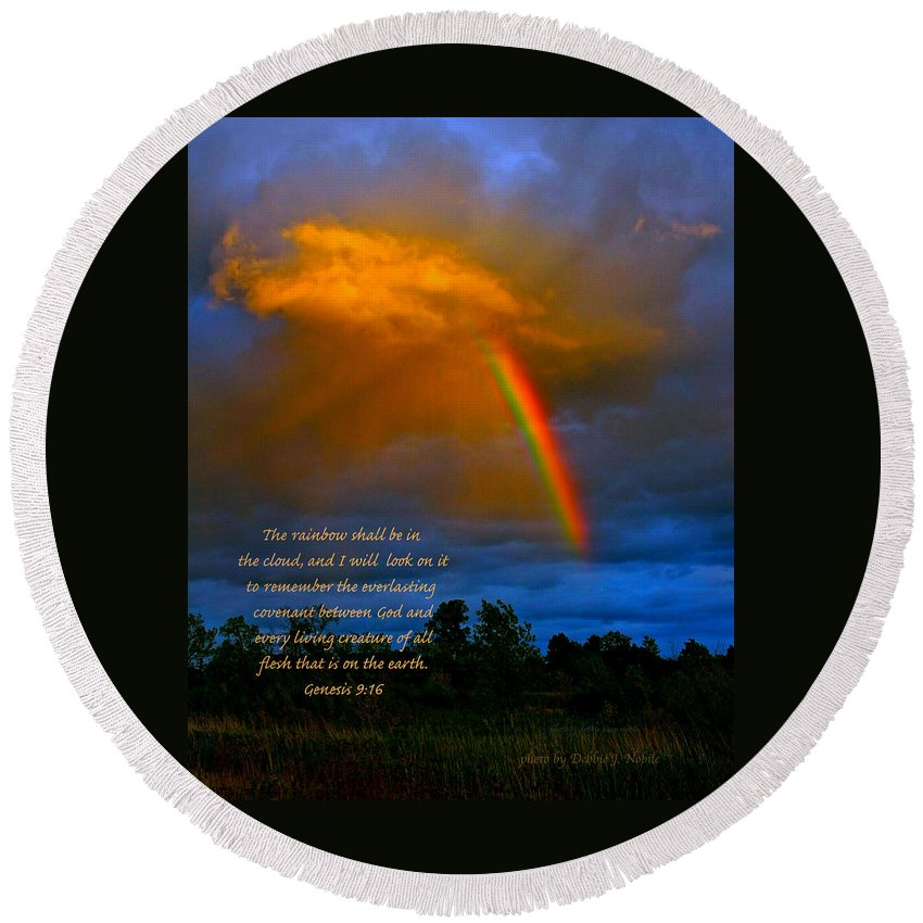 Landscape Round Beach Towel featuring the photograph Rainbow In The Cloud by Debbie Nobile