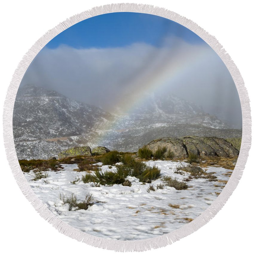 Portugal Round Beach Towel featuring the photograph Rainbow In The Mountain by Alexandre Martins