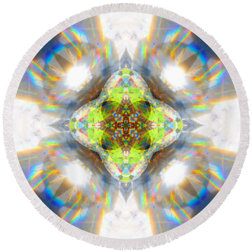 Rainbow Round Beach Towel featuring the photograph Rainbow Jewel Mandala by Susan Bloom