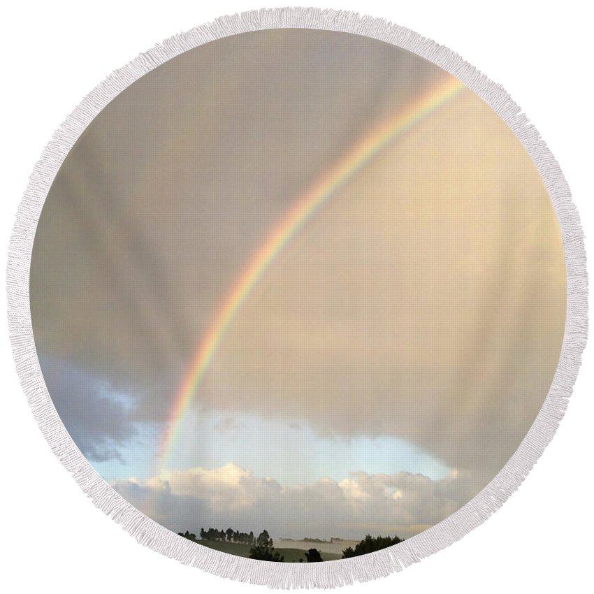 Beautiful Round Beach Towel featuring the photograph Rainbow by Les Cunliffe