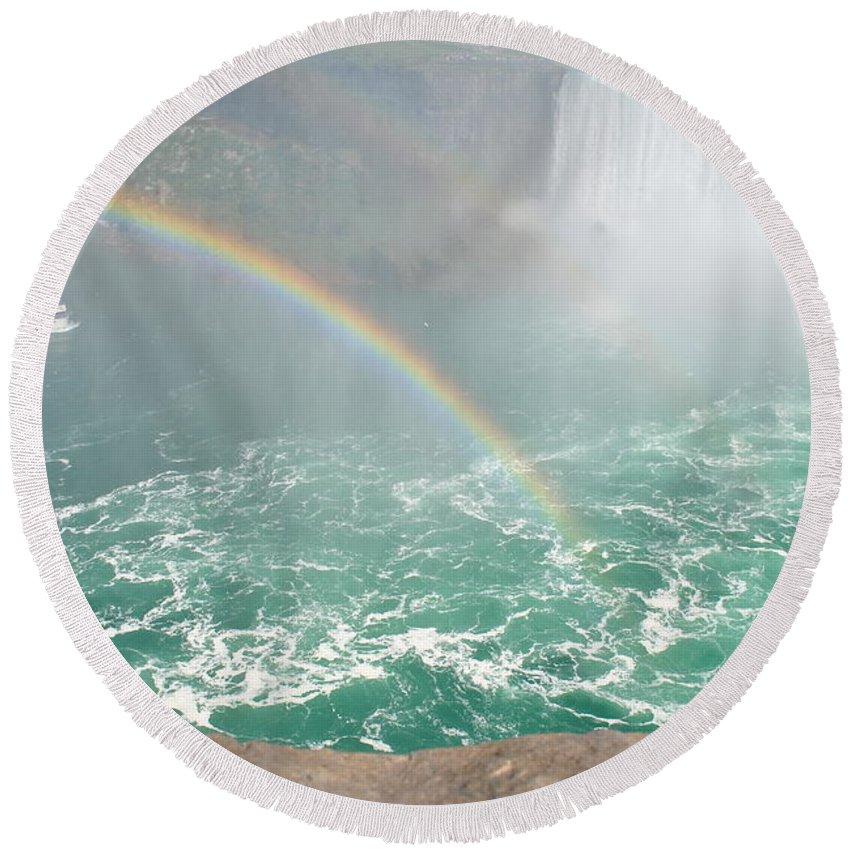 Round Beach Towel featuring the photograph Rainbow Mist by Jim Hogg