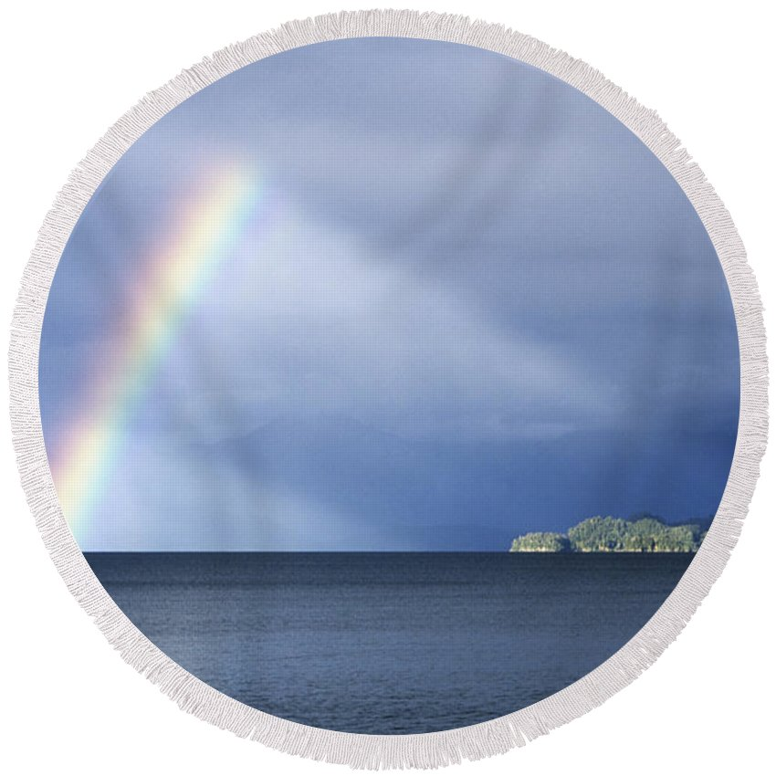 Rainbow Round Beach Towel featuring the photograph Rainbow Over Lake Todos Santos Chile by James Brunker