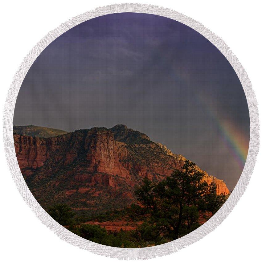Sedona Round Beach Towel featuring the photograph Rainbow Over Sedona by Saija Lehtonen