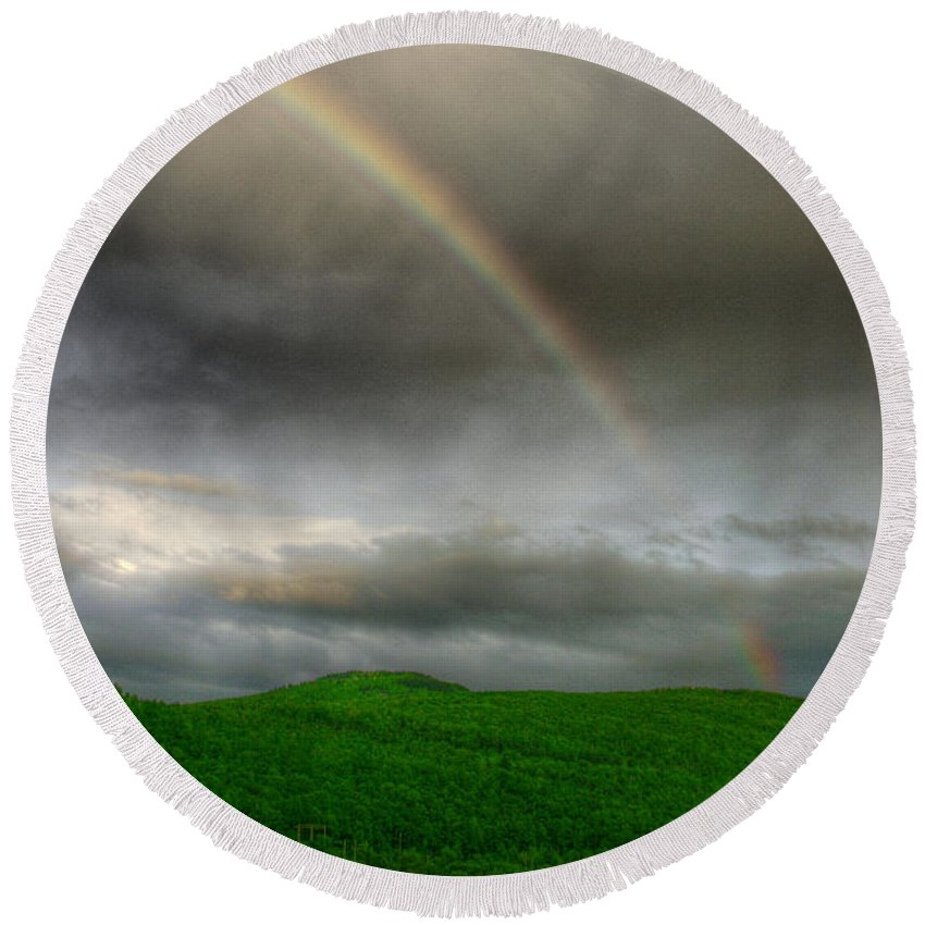 Mountain Round Beach Towel featuring the photograph Rainbow Over The Mahoosucs by Wayne King