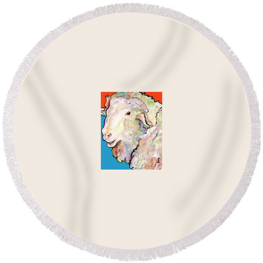 Pat Saunders-white Round Beach Towel featuring the painting Rainbow Ram by Pat Saunders-White