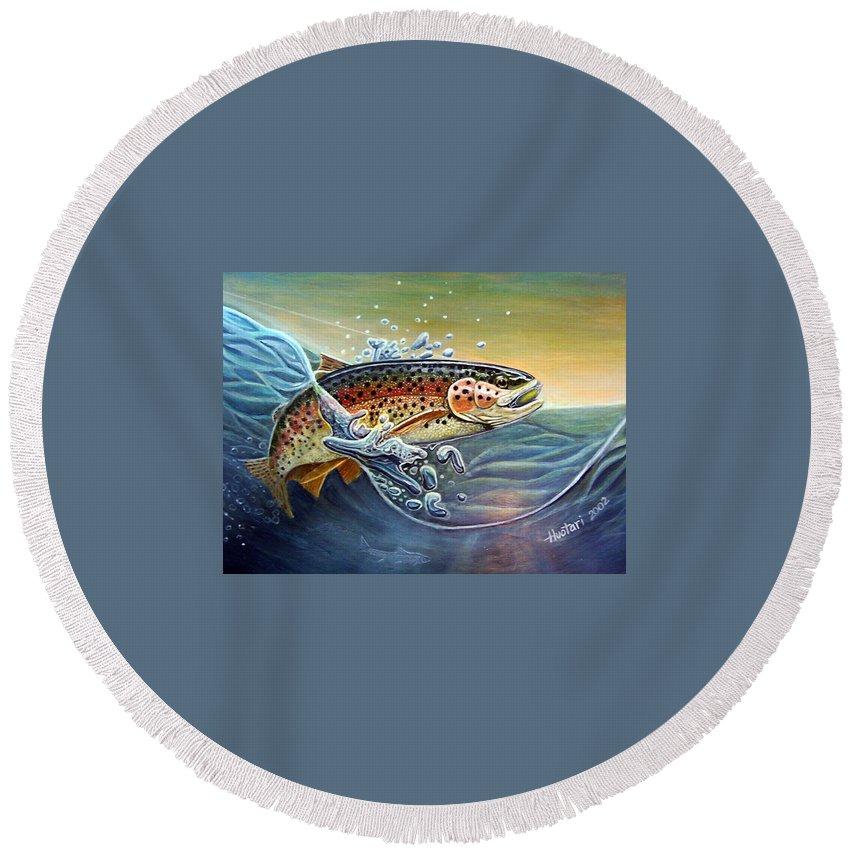 Rick Huotari Round Beach Towel featuring the painting Rainbow by Rick Huotari