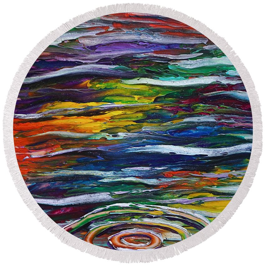 Surreal Reflection On Water Round Beach Towel featuring the painting Rainbow Ripple by Les Lyden