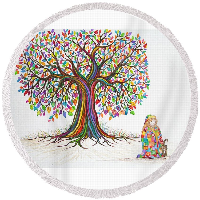 Tree Art Round Beach Towel featuring the drawing Rainbow Tree Dreams by Nick Gustafson