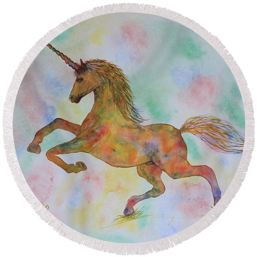 Unicorn Round Beach Towel featuring the painting Rainbow Unicorn In My Garden Original Watercolor Painting by Georgeta Blanaru